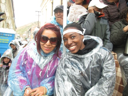 Gina and I (another friend I met on the train from Villazon to Oruro)  It wasn't raining. We just had those on as protection from the foam sprays and water bombs that are part of the celebrations.