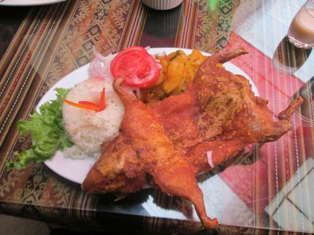 Cuy (Guinea Pig). A traditional staple dish in the  highlands of Peru.